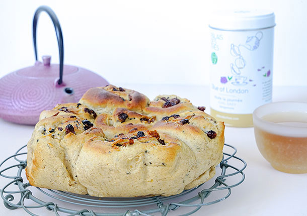 Brioche rolls with dried fruit and Blue of London tea