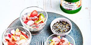 Tartare de daurade, pickles de radis et daikon au Thé des Moines