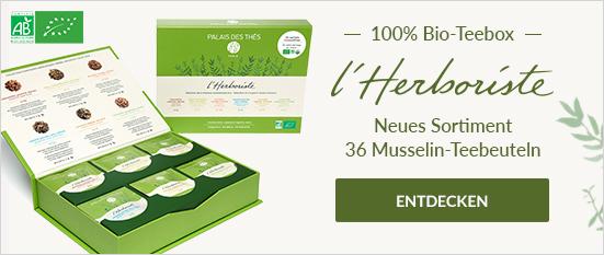 Teebox L'Herboriste BIO mit 36 Musselin-Teebeuteln