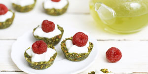 Mini raw Matcha and pistachio tartlets