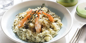 Risotto with Sencha Ariake and Prawns